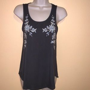 AE Soft & Sexy Embroidered Knit Tank Top XS Scoop